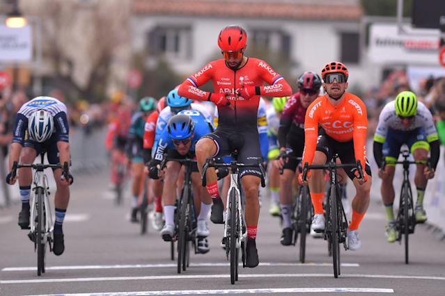 SAINTESMARIESDELAMER FRANCE FEBRUARY 13 Arrival Nacer Bouhanni of France and Team Arka Samsic Celebration Jakub Mareczko of Italy and CCC Team Giacomo Nizzolo of Italy and Team NTT Pro Cycling during the 5th Tour de La Provence 2020 Stage 1 a 1495km stage from Chteaurenard to SaintesMariesDeLaMer TDLP letourdelaprovence TDLP2020 on February 13 2020 in SaintesMariesDeLaMer France Photo by Luc ClaessenGetty Images