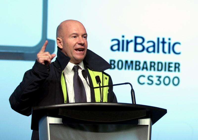 CEO Bombardier Inc. Alain Bellemare speaks during a ceremony to announce Bombardier's delivery of the first CS300 aircraft to Air Baltic Corporation AS (airBaltic) in Mirabel, Quebec, Canada November 28, 2016. REUTERS/Christinne Muschi
