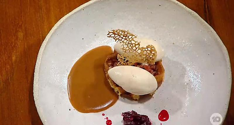 The dish in question featured two perfect scoops of ice cream and a wafer at the centre. Photo: Ten