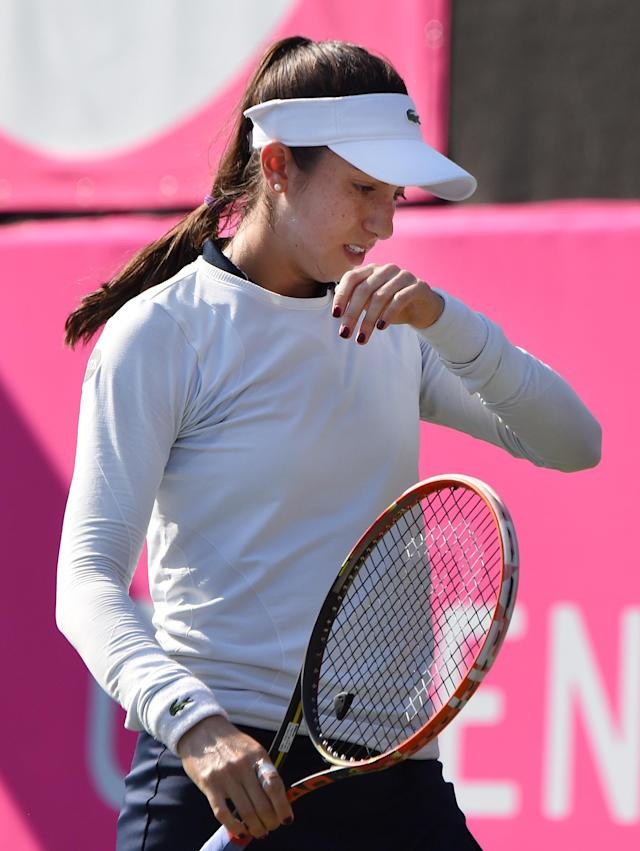 Christina McHale of the US reacts after a point against Magda Linette of Poland during their women's singles semi-final match at the Japan Women's Open tennis tournament in Tokyo on September 19, 2015. AFP PHOTO / Toru YAMANAKA (AFP Photo/TORU YAMANAKA)