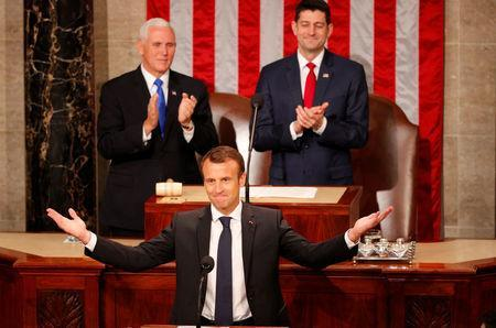 French President Emmanuel Macron arrives to address a joint meeting of Congress in the House chamber of the U.S. Capitol in Washington, U.S., April 25, 2018. REUTERS/Brian Snyder