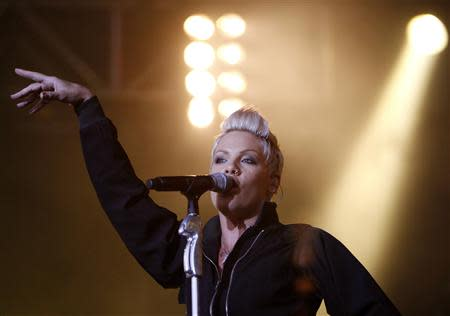 U.S. singer Pink performs on main stage during Budapest's Sziget Music Festival on an island in the Danube River in this August 10, 2007 file photo. REUTERS/Laszlo Balogh/Files ENTERTAINMENT)