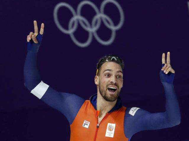 Speed Skating - Pyeongchang 2018 Winter Olympics - Men's 1000m competition finals - Gangneung Oval - Gangneung, South Korea - February 23, 2018 - Kjeld Nuis of the Netherlands reacts after the heat. REUTERS/Damir Sagolj