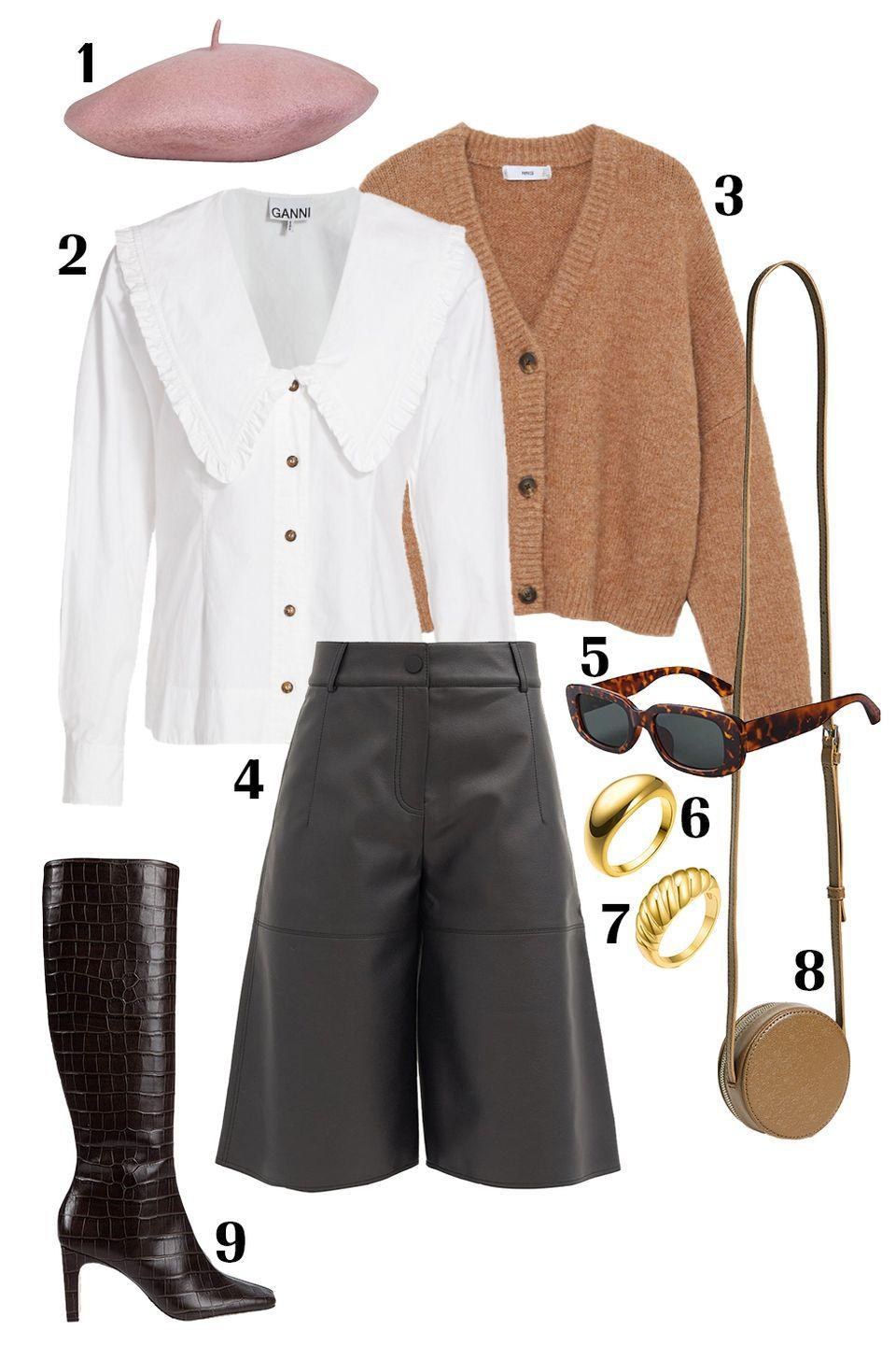 """<p>The exaggerated '70s collared blouse, leather culottes, and beret might be an intimidating look to pull off, but each of these pieces will help you step out of your box (I promise). Layer this blouse under a knit cardigan so the wide collar lays on top; sport a pair high-rise culottes with tall croc-skin boots that will pass the hem of the trouser; and top it off with a felt beret tilted slightly to the side. Finish off this look with your go-to sunnies, a mini shoulder bag, and your daily jewelry. </p><p>Shop the pieces:<em> <strong>1.</strong> </em><em><a href=""""https://hatattack.com/products/fall-wool-beret?variant=32107184685145"""" rel=""""nofollow noopener"""" target=""""_blank"""" data-ylk=""""slk:Hat Attack Beret"""" class=""""link rapid-noclick-resp"""">Hat Attack Beret</a></em><em>,</em> $32; <strong>2.</strong> <em><a href=""""https://www.saksfifthavenue.com/product/ganni-cotton-poplin-pilgrim-collar-top-0400013241159.html?"""" rel=""""nofollow noopener"""" target=""""_blank"""" data-ylk=""""slk:Ganni Blouse"""" class=""""link rapid-noclick-resp"""">Ganni Blouse</a></em>, $165; <strong>3.</strong> <em><a href=""""https://shop.mango.com/us/women/cardigans-and-sweaters-cardigans/button-knit-cardigan_77087609.html"""" rel=""""nofollow noopener"""" target=""""_blank"""" data-ylk=""""slk:Mango Cardigan"""" class=""""link rapid-noclick-resp"""">Mango Cardigan</a></em>, $30; <strong>4.</strong> <em><a href=""""https://www.matchesfashion.com/us/products/Vika-2-0-High-rise-faux-leather-culottes--1386610"""" rel=""""nofollow noopener"""" target=""""_blank"""" data-ylk=""""slk:VIKA Faux Leather Culottes"""" class=""""link rapid-noclick-resp"""">VIKA Faux Leather Culottes</a></em>, $186; <strong>5.</strong> <em><a href=""""https://www.amazon.com/GIFIORE-Rectangle-Sunglasses-Fashion-Protection/dp/B085NV2WQJ/ref=sr_1_10?"""" rel=""""nofollow noopener"""" target=""""_blank"""" data-ylk=""""slk:Amazon Sunglasses"""" class=""""link rapid-noclick-resp"""">Amazon Sunglasses</a></em>, $10; <strong>6.</strong> <em><a href=""""https://www.amazon.com/dp/B08LG2M9J3/ref=twister_B08LG7XL6L?th=1"""" rel=""""nofollow noopener"""" target"""