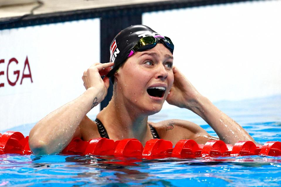 <p>Pernille Blume of Denmark celebrates winning gold in the Women's 50m Freestyle Final on Day 8 of the Rio 2016 Olympic Games at the Olympic Aquatics Stadium on August 13, 2016 in Rio de Janeiro, Brazil. (Photo by Adam Pretty/Getty Images) </p>