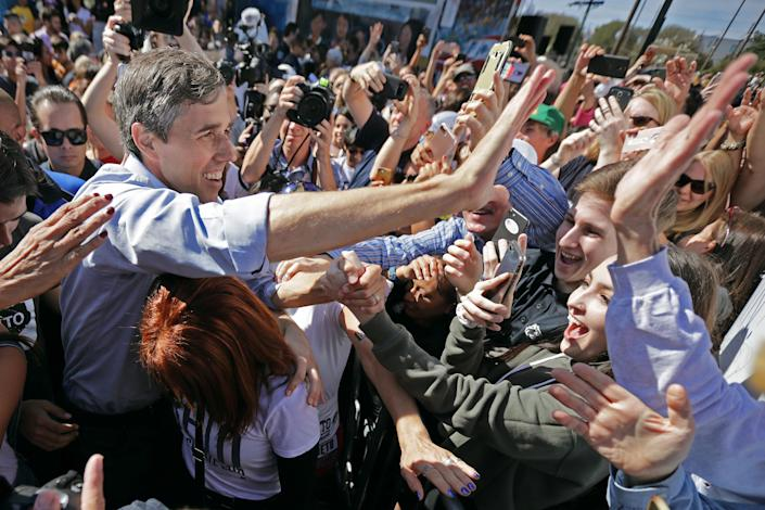 Senate candidate Rep. Beto O'Rourke, D-Texas, greets supporters as he departs a campaign rally at the Pan American Neighborhood Park on Sunday in Austin, Texas. (Photo: Chip Somodevilla/Getty Images)