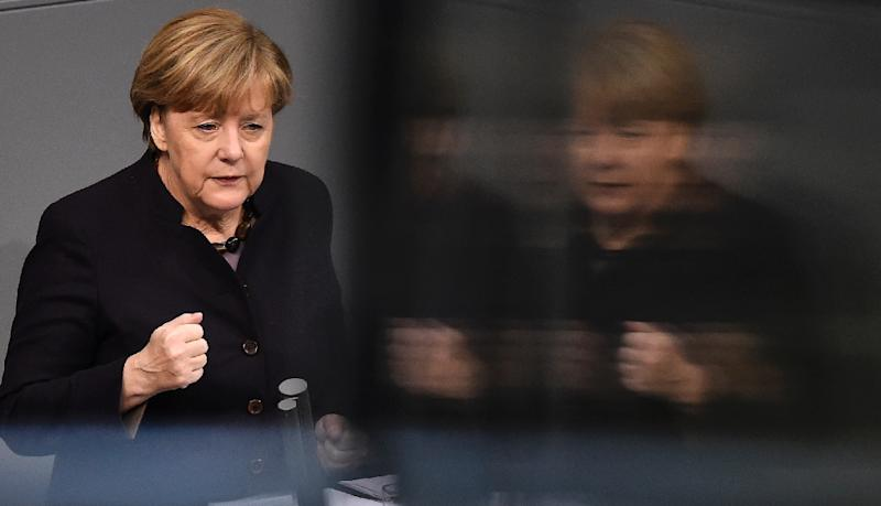 German Chancellor Angela Merkel delivers a speech during a session of the Bundestag in Berlin November 25, 2015