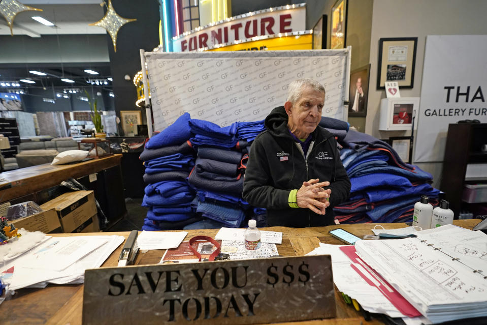 """FILE - In this Feb. 17, 2021, file photo, owner Jim McIngvale talks about opening his Gallery Furniture store as a shelter in Houston. The Houston furniture dealer who owns horses is placing a big-money bet on the Kentucky Derby. McIngvale, nicknamed """"Mattress Mack,"""" is wagering at least $2 million on Saturday's race, which will be the largest in Derby history. He doesn't have a horse of his own in the race, so he plans to bet on 2-1 morning-line favorite Essential Quality. (AP Photo/David J. Phillip, File)"""