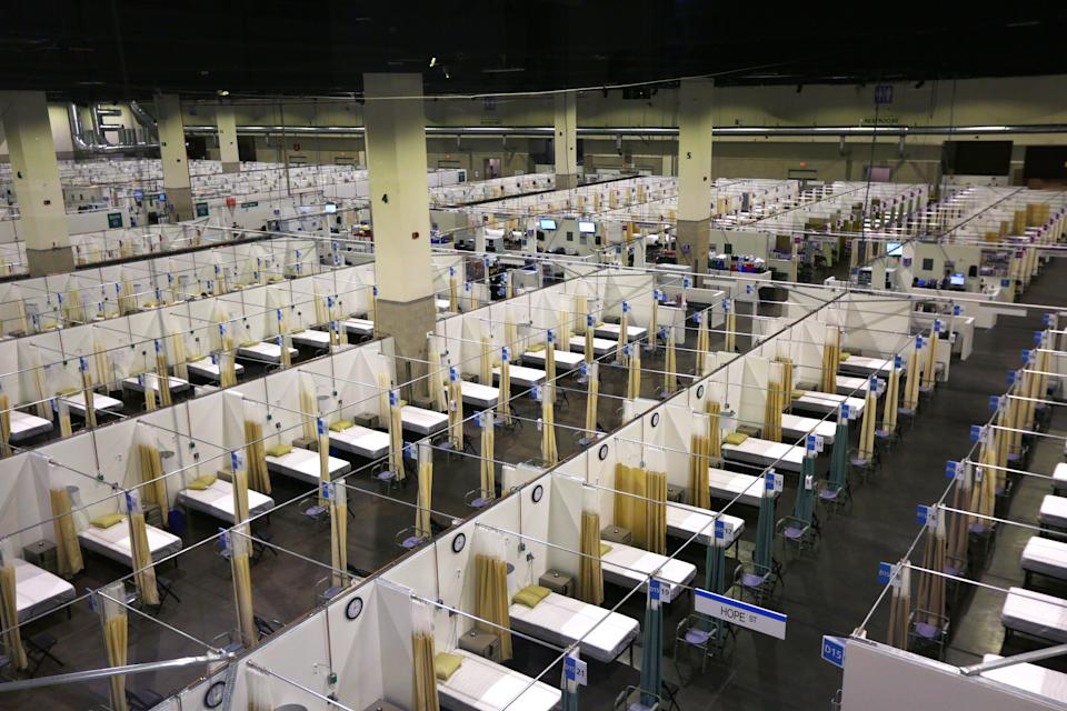 An alternative field hospital at the Rhode Island Convention Centre opened this week as hospitalisations continue to rise. Source: Getty