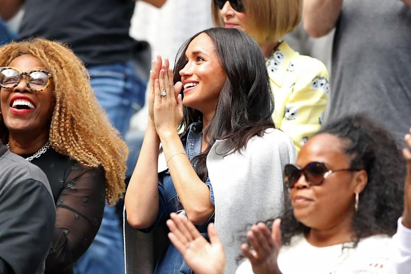 NEW YORK, NEW YORK - SEPTEMBER 07: Meghan, Duchess of Sussex, attends the Women's Singles final match between Serena Williams of the United States and Bianca Andreescu of Canada on day thirteen of the 2019 US Open at the USTA Billie Jean King National Tennis Center on September 07, 2019 in the Queens borough of New York City. (Photo by Elsa/Getty Images)