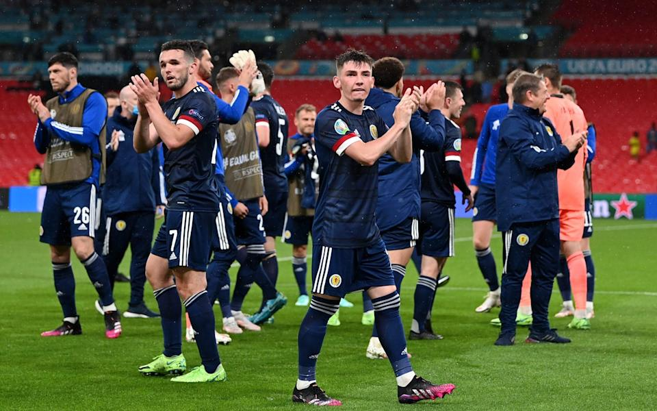 Billy Gilmour of Scotland applauds the fans after the UEFA Euro 2020 Championship Group D match between England and Scotland at Wembley Stadium on June 18, 2021 in London, England - Shaun Botterill - UEFA/UEFA via Getty Images