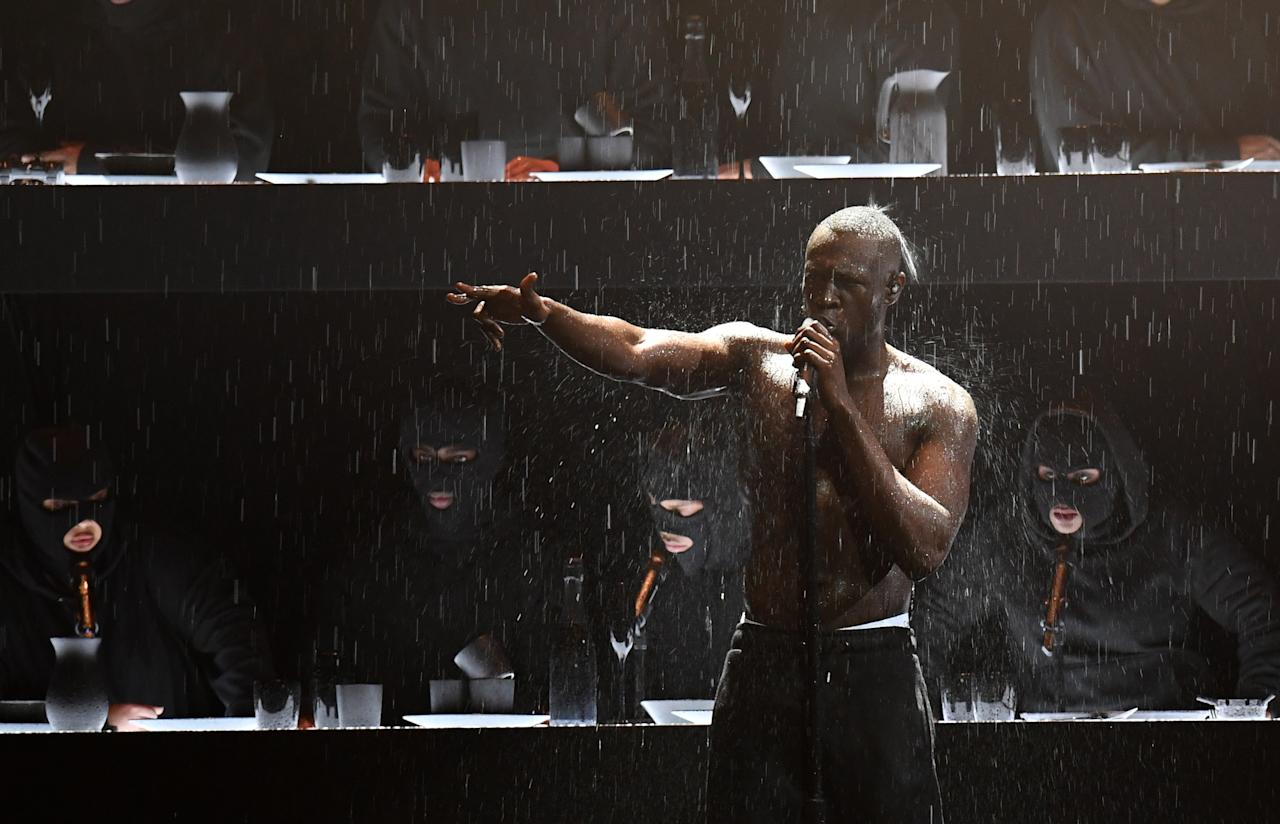 <p>Stormzy performs on stage during the 2018 BRIT Awards at the O2 Arena in February. (Victoria Jones/PA Wire.) </p>