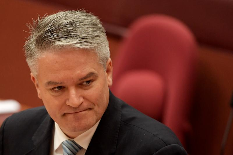 CANBERRA, AUSTRALIA - JULY 04: Senator Matihias Cormann in the Senate at Parliament House on July 04, 2019 in Canberra, Australia. Prime Minister Scott Morrison is introducing his proposed $158 billion income tax cut plan into the Senate today, after it passed the Lower House on Tuesday night. (Photo by Tracey Nearmy/Getty Images)