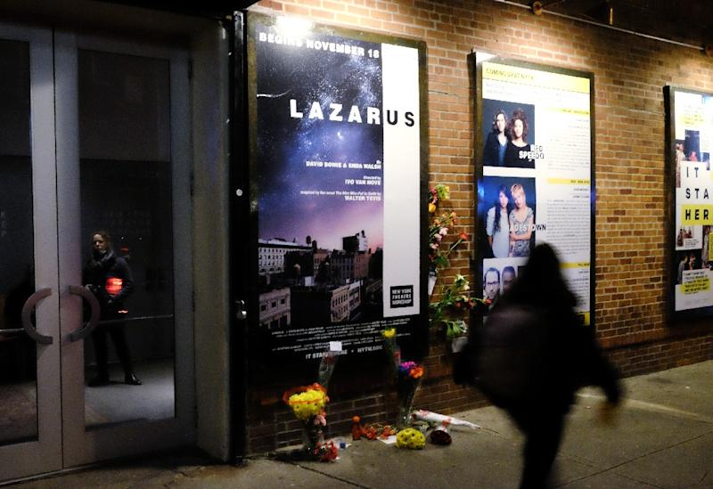"Fans attend a showing of the David Bowie musical ""Lazarus"" on January 12, 2016 in New York City"