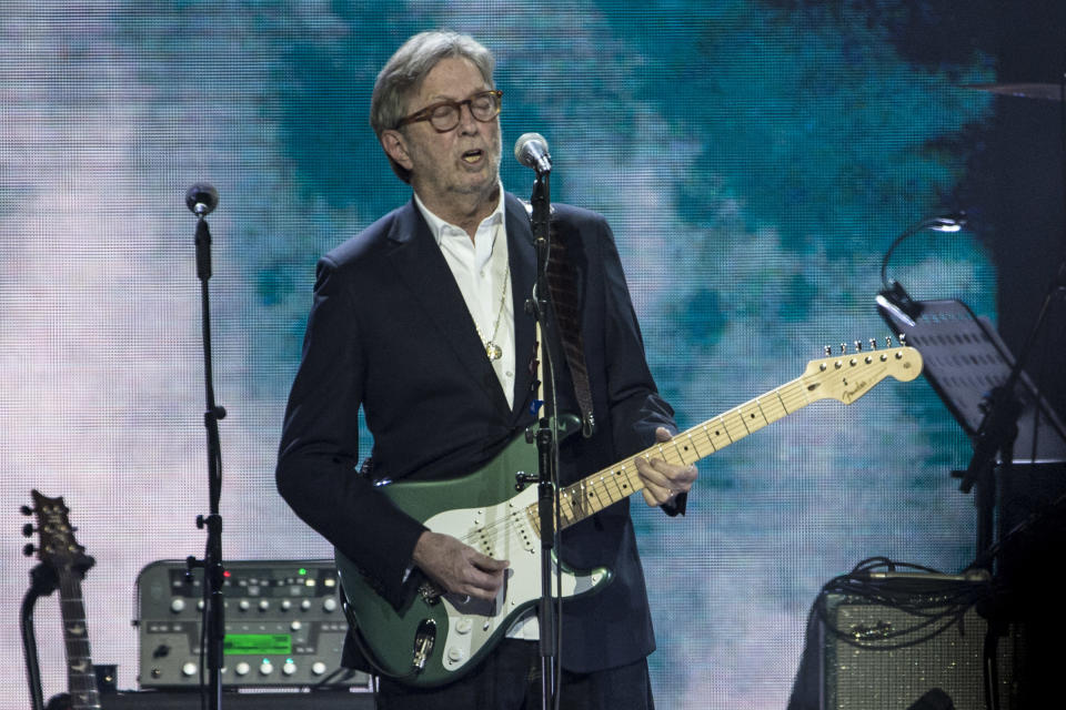 LONDON, ENGLAND - MARCH 03: Eric Clapton performs at the Music For Marsden 2020 at The O2 Arena on March 3, 2020 in London, England.  (Photo by Neil Lupin/Redferns)