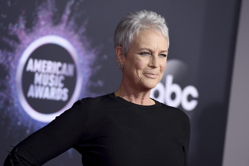 Jamie Lee Curtis arrives at the American Music Awards on Sunday, Nov. 24, 2019, at the Microsoft Theater in Los Angeles. (Photo by Jordan Strauss/Invision/AP)