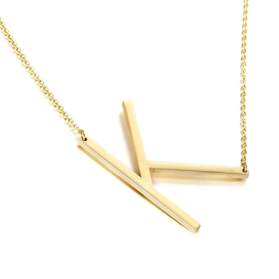 <p>We love the minimalist vibe of this <span>Memgift Big Letter Necklace Stainless Steel Initial Pendant</span> ($9).</p>