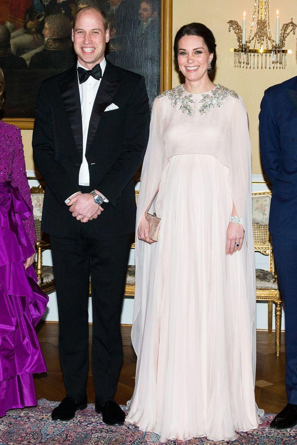 <p>The Duchess of Cambridge made a regal statement in an Alexander McQueen draped gown for a formal dinner at the Norwegian Royal Palace. </p>