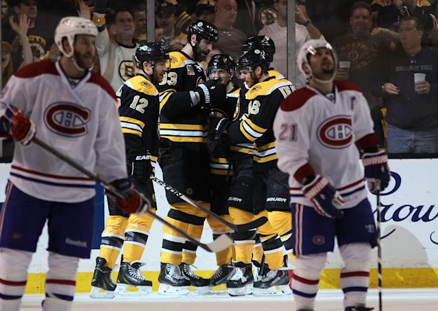 BOSTON, MA - MAY 10: The Boston Bruins celebrate a powerplay goal by Jarome Iginla #12 at 1:36 of the second period against the Montreal Canadiens during Game Five of the Second Round of the 2014 NHL Stanley Cup Playoffs at the TD Garden on May 10, 2014 in Boston, Massachusetts. (Photo by Bruce Bennett/Getty Images)
