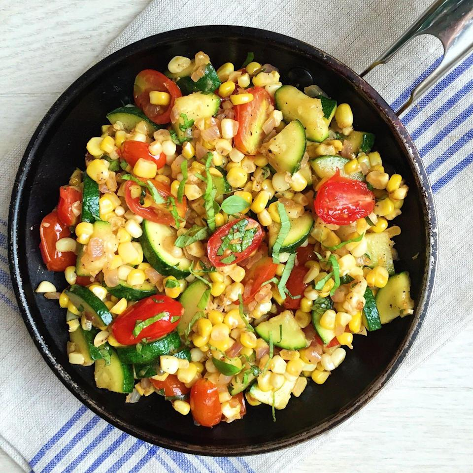 """<p>There's so much going on in this skillet, and we are not mad about it.</p><p><span>Get the recipe from</span> <a href=""""/cooking/recipe-ideas/recipes/a43522/corn-zucchini-tomato-saute-recipe/"""" data-ylk=""""slk:Delish"""" class=""""link rapid-noclick-resp"""">Delish</a><span>.</span></p>"""