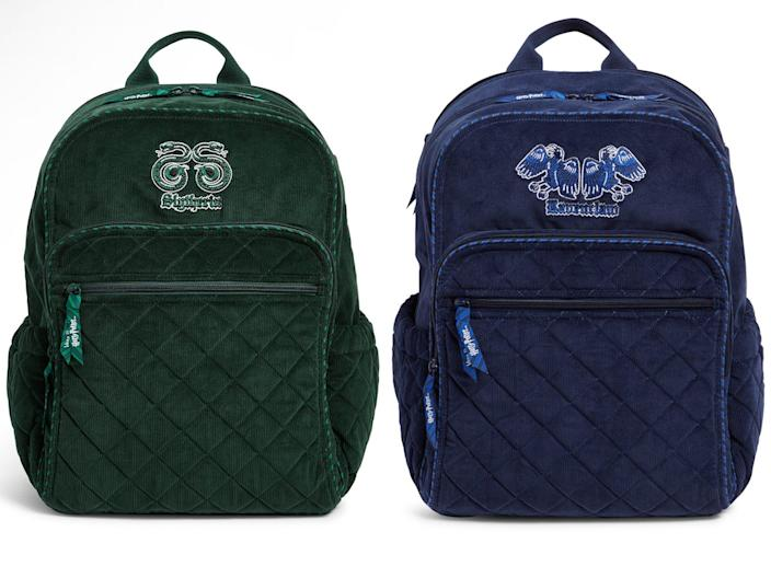 The Slytherin and Ravenclaw backpacks.