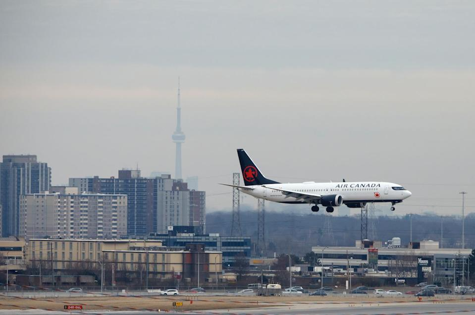 An Air Canada Boeing 737 MAX 8 jet approaches Toronto Pearson International Airport for landing on March 13, 2019 in Toronto, Canada. (Photo: Cole Burston/Getty Images)