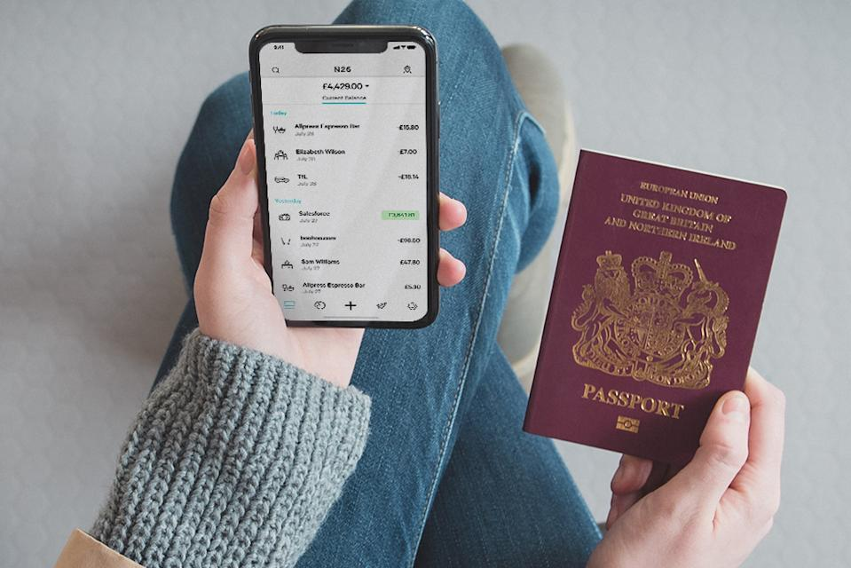 The N26 app pictured with a UK passport. (N26)