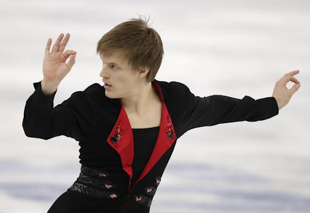 Tomas Verner of the Czech Republic competes in the men's free skate figure skating final at the Iceberg Skating Palace during the 2014 Winter Olympics, Friday, Feb. 14, 2014, in Sochi, Russia. (AP Photo/Darron Cummings)