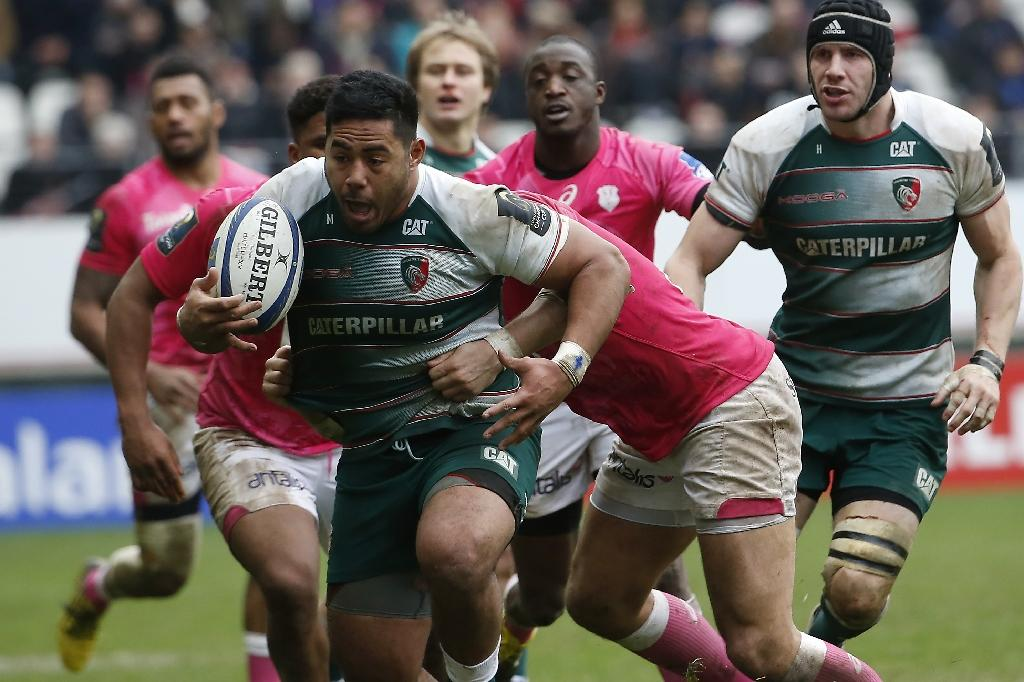 Leicester's center from England Manu Tuilagi (C) vies for the ball during the European Champions Cup rugby union match between Stade Francais and Leicester Tigers, on January 24, 2016, at the Jean Bouin stadium in Paris. AFP PHOTO / THOMAS SAMSONLeicester's center from England Manu Tuilagi (C) vies for the ball during the European Champions Cup rugby union match between Stade Francais and Leicester Tigers, on January 24, 2016, at the Jean Bouin stadium in Paris. AFP PHOTO / THOMAS SAMSON (AFP Photo/THOMAS SAMSON)