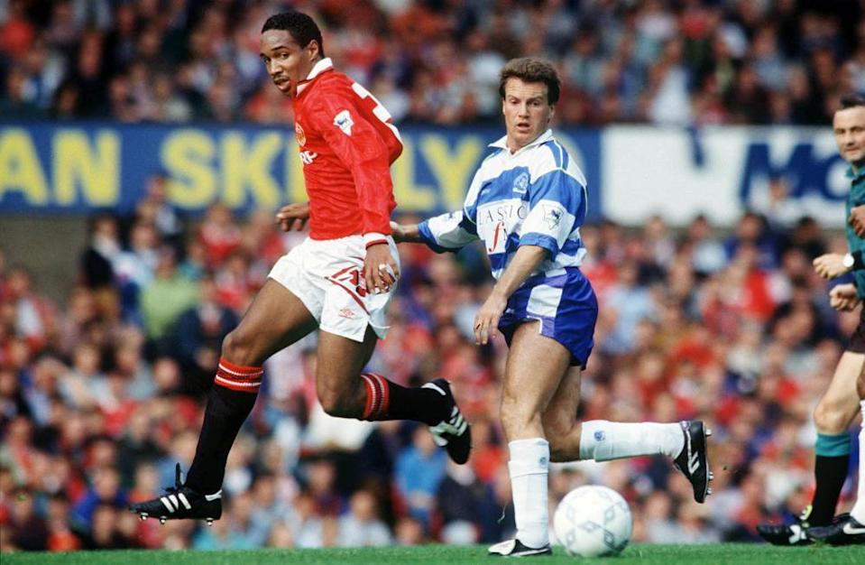 Paul Ince in action for Manchester United against Queens Park Rangers during the 1992-93 season.