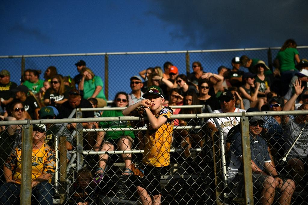 The cathartic power of sport was on display as Santa Fe High School's baseball team played a game just one day after several of their classmates were killed in a shooting at their school (AFP Photo/Brendan Smialowski)