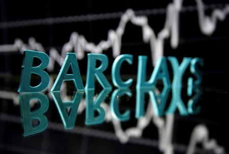FILE PHOTO: The Barclays logo is seen in front of displayed stock graph in this illustration
