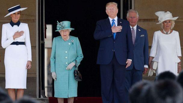 First lady Melania Trump, Britain's Queen Elizabeth II, President Donald Trump, Britain's Prince Charles, Prince of Wales and Britain's Camilla, Duchess of Cornwall stand on the steps during a welcome ceremony at Buckingham Palace in London, June 3, 2019. (Adrian Dennis/AFP/Getty Images)
