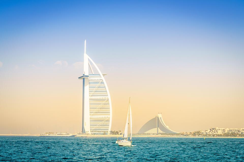 Gulf club: The Burj Al Arab hotel in the UAE, where some of the super-rich have jetted for the jabAlamy Stock Photo