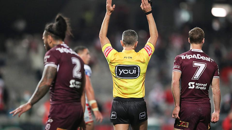 A referee, pictured here in action during Manly's clash with St George Illawarra.