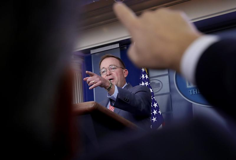 Acting White House chief of staff Mick Mulvaney answers questions during a briefing at the White House on Oct. 17, 2019.