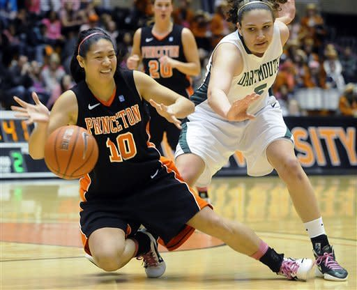 Princeton's Nicole Hung (10) collides with Dartmouth's Tia Dawson during the second half of an NCAA college basketball game, Saturday, Feb. 25, 2012, in Princeton, N.J. Princeton won 94-57. (AP Photo/MJ Schear)
