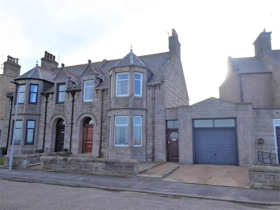 """<p>This traditional semi-detached villa, situated in the scenic coastal town of Buckie, has unrestricted views over the Moray Firth, four <a href=""""https://www.housebeautiful.com/uk/decorate/bedroom/g28786488/instagram-bedroom/"""" rel=""""nofollow noopener"""" target=""""_blank"""" data-ylk=""""slk:bedrooms"""" class=""""link rapid-noclick-resp"""">bedrooms</a>, ornate tiled flooring, a roaring fireplace, and a wonderful garden with clambering flowers. </p><p><a href=""""https://www.zoopla.co.uk/for-sale/details/57000663/"""" rel=""""nofollow noopener"""" target=""""_blank"""" data-ylk=""""slk:This property is currently on the market for £210,000 with Grigor & Young Solicitors and Estate Agents via Zoopla"""" class=""""link rapid-noclick-resp"""">This property is currently on the market for £210,000 with Grigor & Young Solicitors and Estate Agents via Zoopla</a>. </p>"""