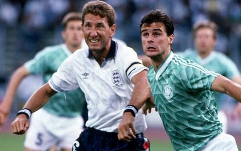 Terry Butcher (left) and West Germany's Thomas Berthold battle for the ball at Italia 90 - Credit: getty images