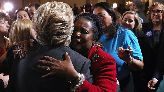 Hillary hugs a supporter after her concession speech. Source: Getty.