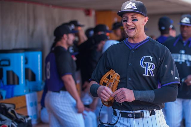 SCOTTSDALE, AZ - MARCH 2: Troy Tulowitzki #2 of the Colorado Rockies looks on before the game against the Milwaukee Brewers at Salt River Fields at Talking Stick on March 2, 2014 in Scottsdale, Arizona. (Photo by Rob Tringali/Getty Images)