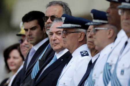 Brazil's President Michel Temer attends a ceremony to deliver the Order of Aeronautical Merit medals, in Brasilia