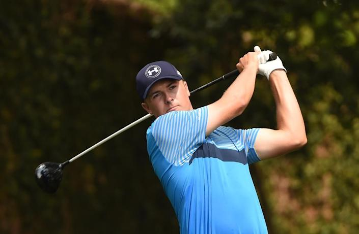 Jordan Spieth of the US tees off during Round 1 of the 79th Masters Golf Tournament at Augusta National Golf Club on April 9, 2015, in Augusta, Georgia (AFP Photo/Timothy A. Clary)