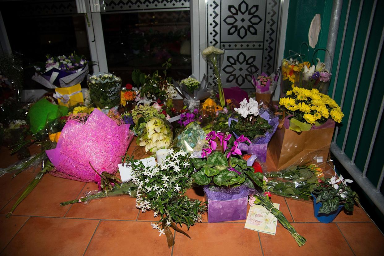 Flowers are placed on the front steps of the Wellington Masjid mosque in Kilbirnie in Wellington on March 15, 2019, after a shooting incident at two mosques in Christchurch. (Photo: Marty Melville/AFP/Getty Images)