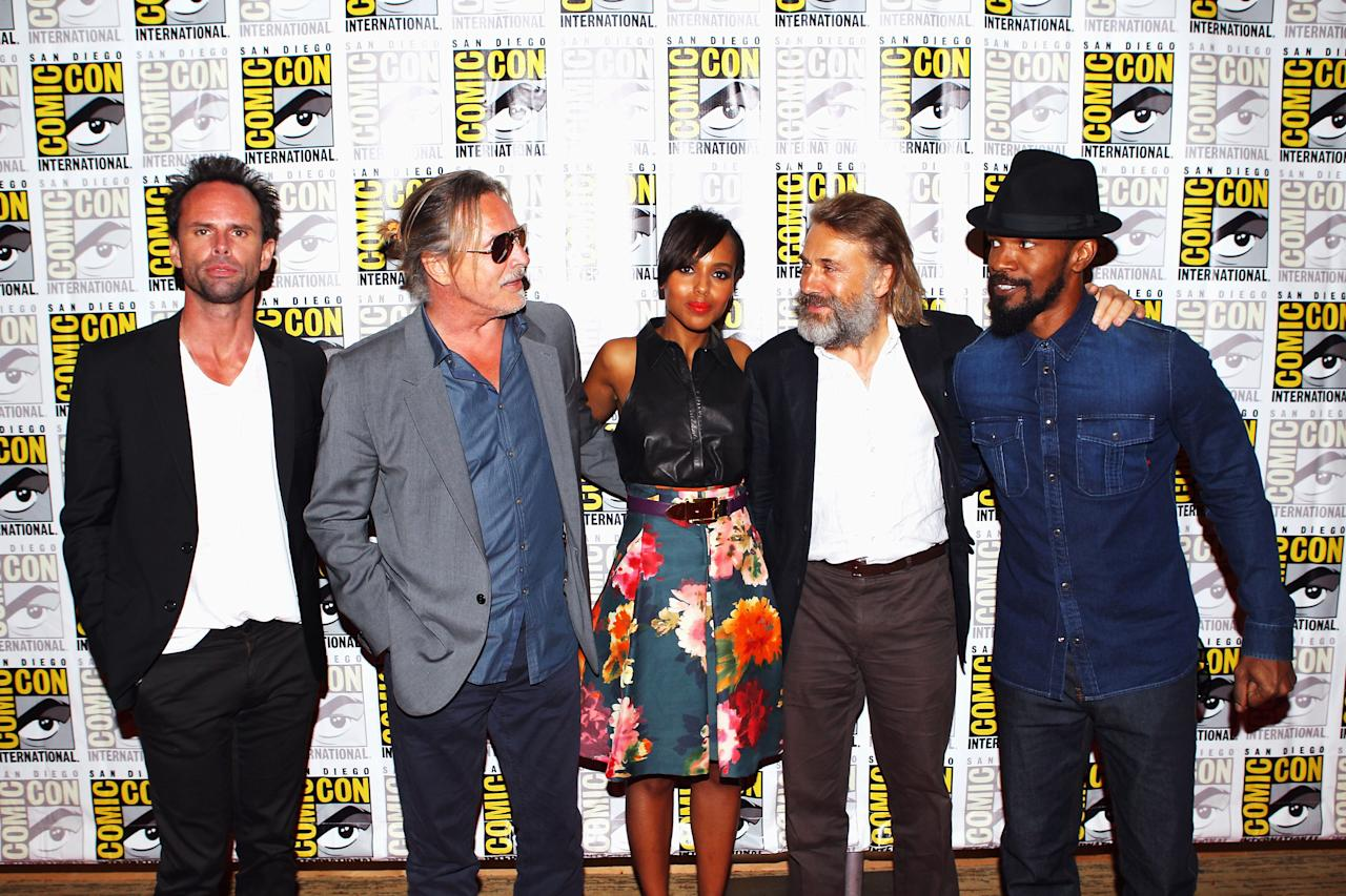"SAN DIEGO, CA - JULY 14:  Actors Walton Goggins, Don Johnson, Kerry Washington, Christoph Waltz and Jamie Foxx attend ""Django Unchained"" at Comic-Con 2012 at Hilton San Diego Bayfront Hotel on July 14, 2012 in San Diego, California.  (Photo by Joe Scarnici/Getty Images for The Weinstein Company)"