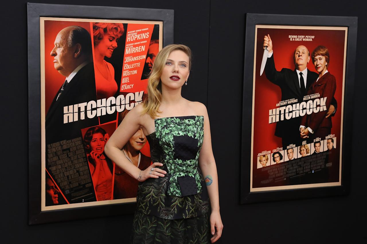 "NEW YORK, NY - NOVEMBER 18:  Actress Scarlett Johansson attends the ""Hitchcock"" New York Premiere at Ziegfeld Theater on November 18, 2012 in New York City.  (Photo by Neilson Barnard/Getty Images)"