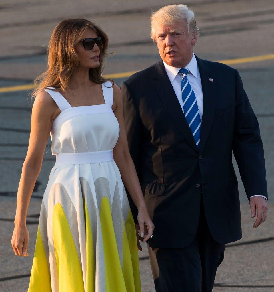 <p>On August 20, Melania was seen walking to board Air Force One wearing a midi-length yellow-and-white dress from Spanish brand Delpozo and a pair of nude heels. The $2,300 frock is already sold out.</p>