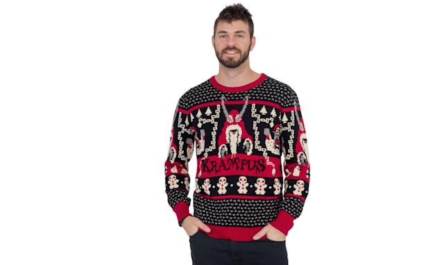 "<p>Whether you're wearing it in tribute to the 2015 film or the horned Austrian folklore figure who punishes children who are naughty, good job on your decision to scare the bejesus out of every youngster you encounter at the holidays. <strong><a href=""http://www.uglychristmassweater.com/product/krampus-knit-ugly-christmas-sweater/"" rel=""nofollow noopener"" target=""_blank"" data-ylk=""slk:Buy here"" class=""link rapid-noclick-resp"">Buy here</a></strong> </p>"