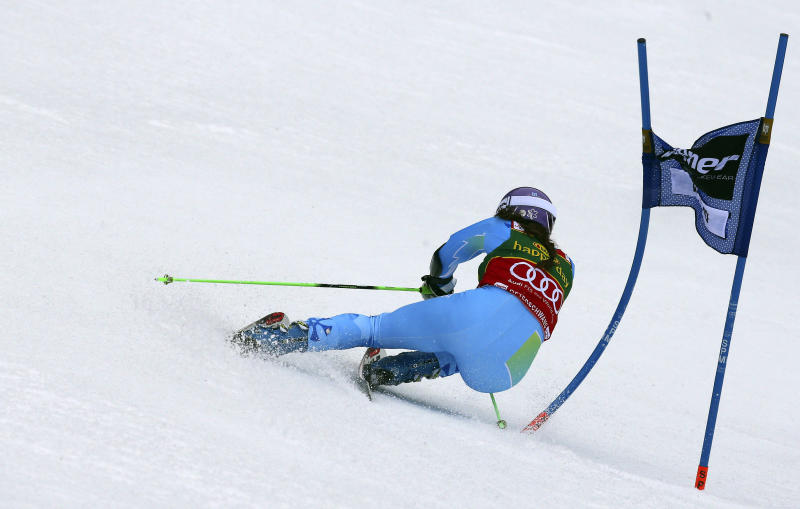 Tina Maze, of Slovenia, competes during the first run of an alpine ski, women's World Cup giant slalom, in Ofterschwang , Germany, Saturday, March 9, 2013.  (AP Photo/Giovanni Auletta)