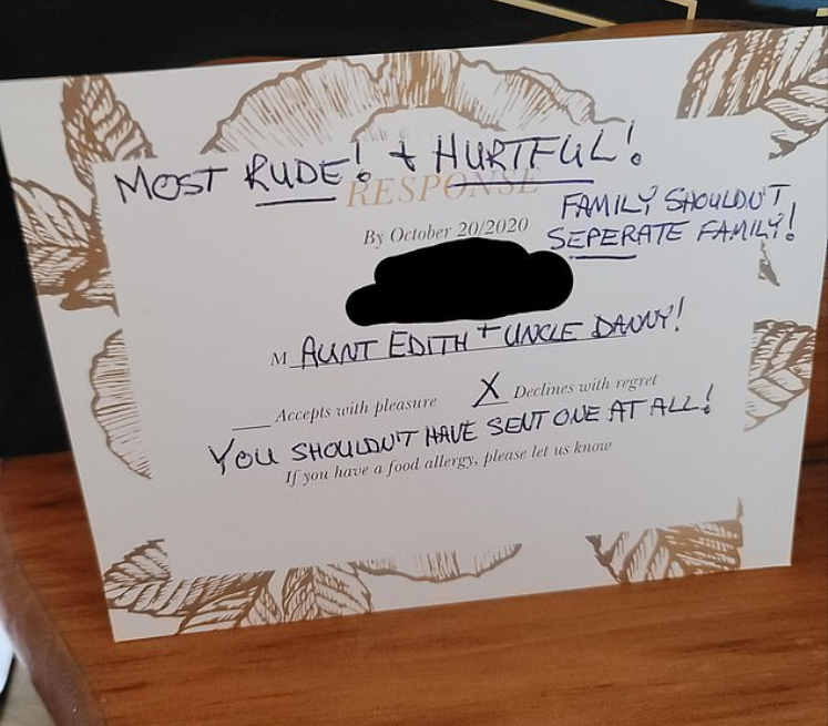 Reddit angry wedding invitation